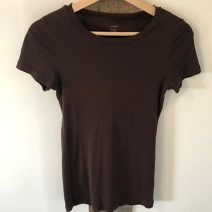 Brown J. Crew Cotton Fitted Tee